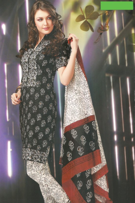 Cheap Cotton Black and White Chudidar Salwar Kameez 2010