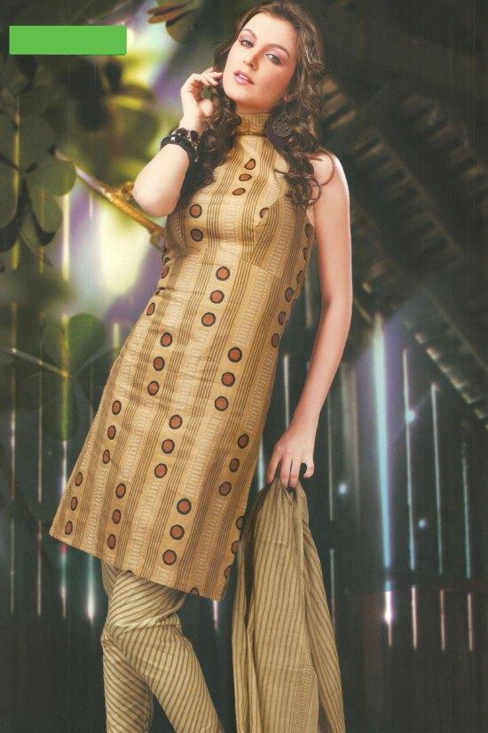 Sleeveless Cheap Cotton Tan Brown Churidar Salwar Kameez