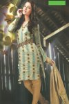 Latest Cotton Casual Churidar Salwar Kameez in Tea Green and Light Brown Color