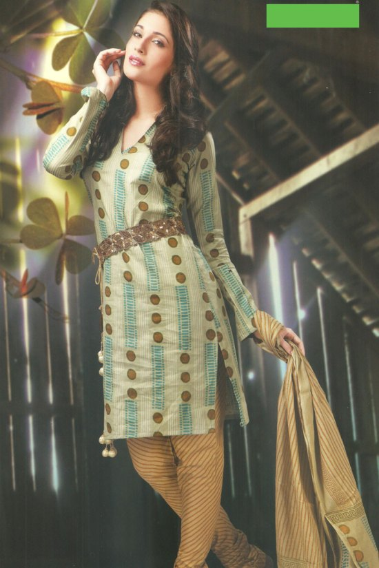 Latest Cotton Casual Churidar Salwar Kameez in Tea Green and Light Brown Color