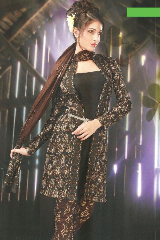 Black Cotton Casual Churidar Salwar Kameez Collection 2010