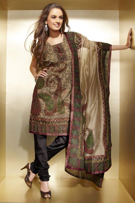 Diwali Churidar Salwar Kameez in Brown Color with Dupatta
