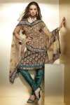 Dipawali Salwar Kameez in Brown and Pine Green Churidar