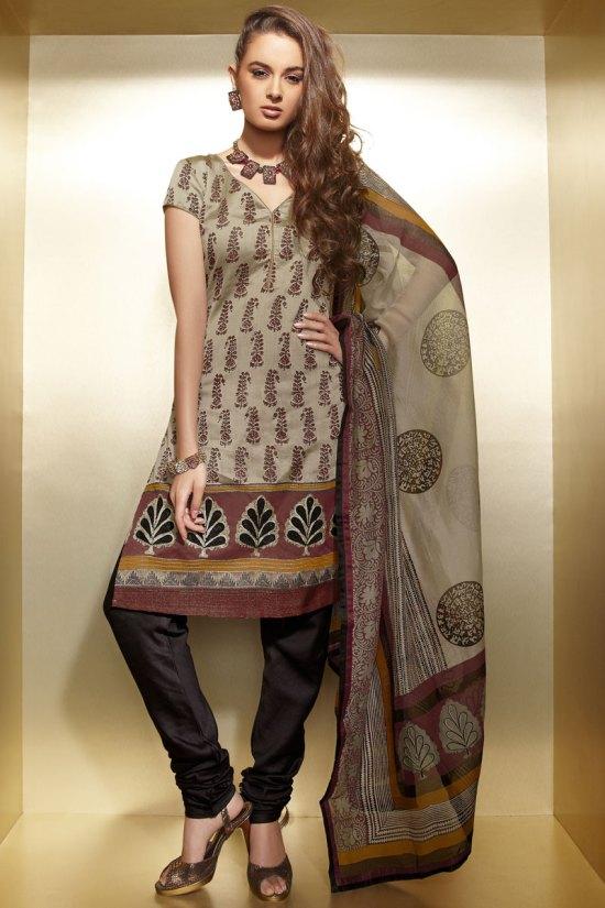 Latest Diwali Salwar Kameez in Khaki Brown and Seal Brown Color
