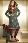 Green Dipawali Shalwar Kameez Designs in Green and Maroon Color