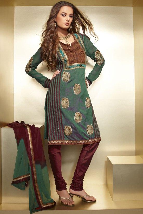 Green Dipawali Shalwar Kameez Designs in Green and Maroon Color