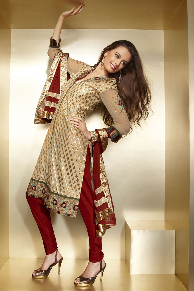 Co color cardinal red - Latest Dipawali Salwar Kameez Peach Yellow And Cardinal Red Color