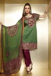 Green and Maroon Churidar Salwar Kameez for Diwali