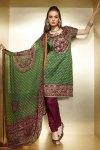 Green and Maroon Churidar Salwar Kameez for Diwali