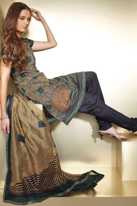 Brown and Gray Salwar With Black Chudidar for Diwali 2010