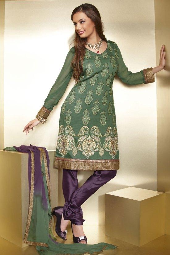 Green and Violet Full Sleeves Churidar Salwar Kameez for Diwali