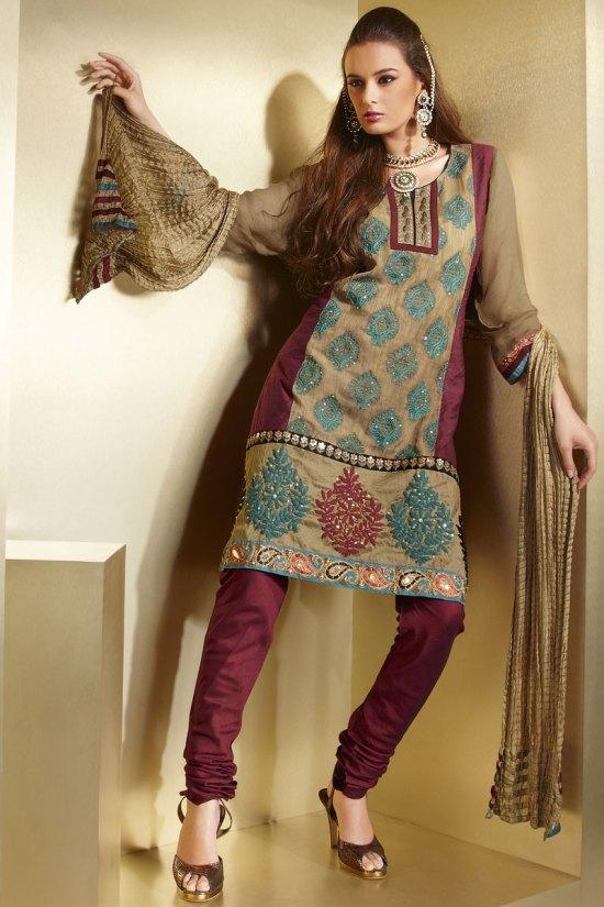 Brown and Red Diwali Chudidar Shalwar Kameez Collection 2010