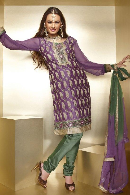 Newly Arrived Diwali Churidar Salwar Kameez in Purple Color