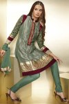 Green High Neck Churidar Salwar Kameez for Diwali 2010