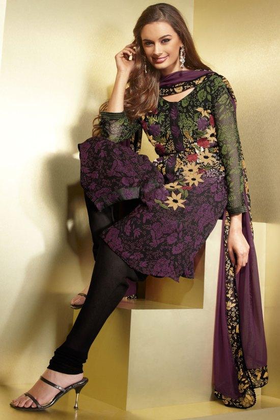 Black Full Net Sleeves Chudidhar Shalwar Kameez for Diwali 2010