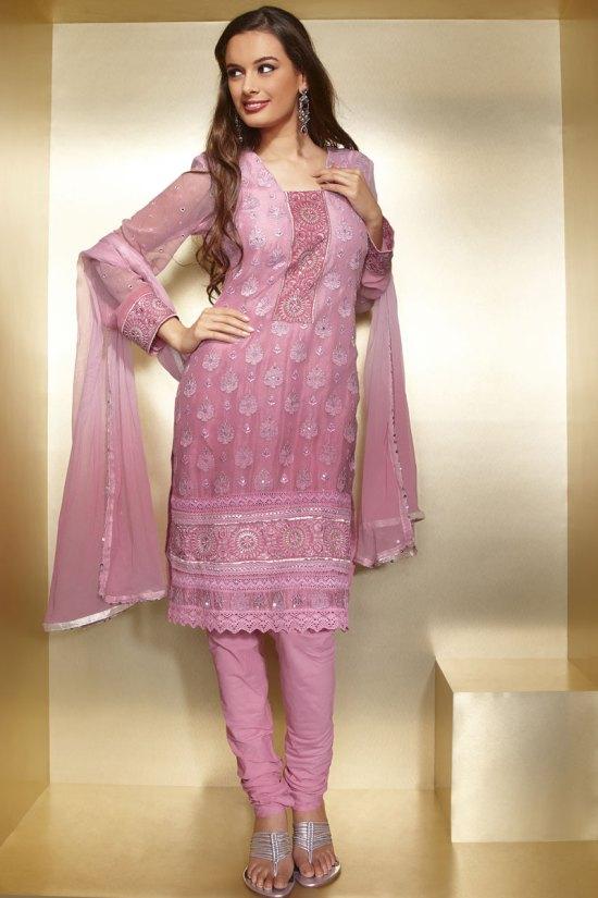 Pink Full Net Sleeves Churidar Shalwar Kameez for Diwali 2010