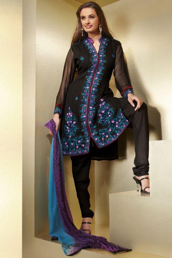 Black Diwali Churidar Salwar Kameez with Full Sleeves and Dupatta