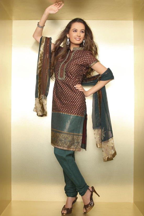 Latest Diwali Salwar Kameez 2010 in Brown and Pine Green Color