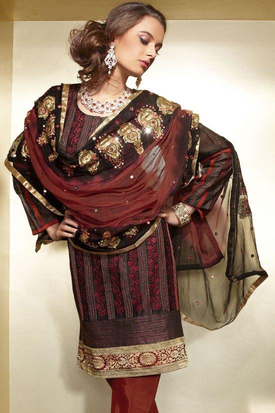 Black and Red Diwali Salwar Kameez 2010 with Matching Net Dupatta