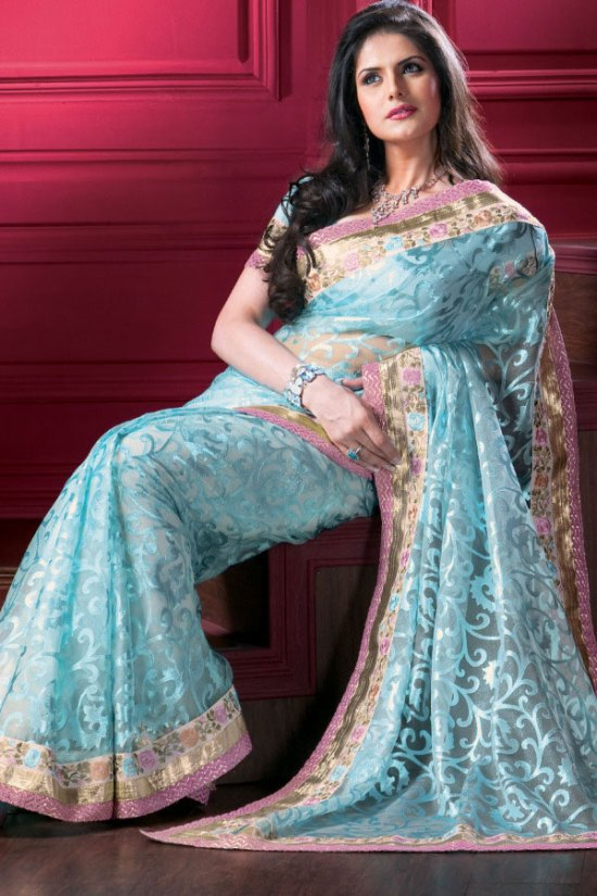 Tissue Designer Saree with Matching Saree Blouse in Light Blue Color