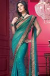 Designer Saree with Patchwork in Border and Unstitched Saree Blouse