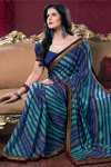 Navy Blue Saree Blouse with Designer Embroidered Saree 2010