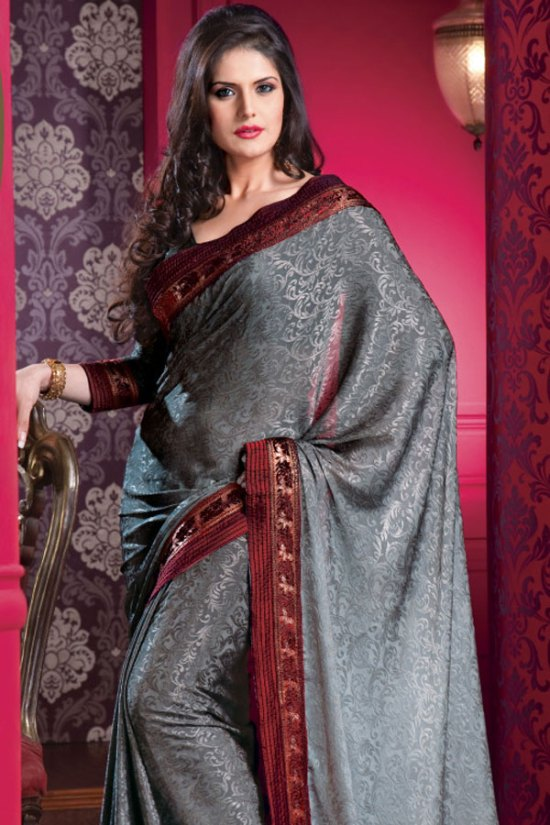 Gray Designer Saree with Red Embroidered border and Designer Saree Blouse