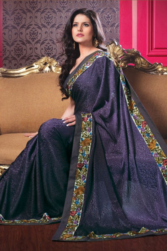 Violet Designer Embroidered Saree with Matching Saree Blouse Designs