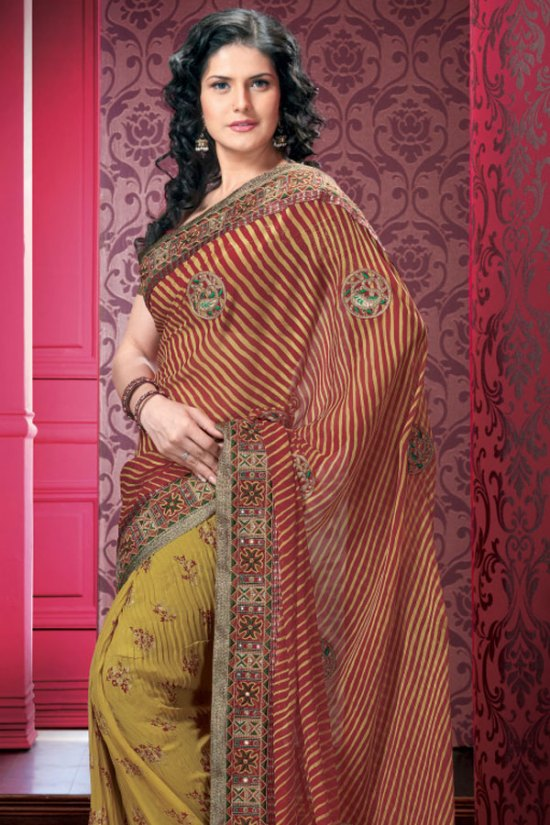 Designer Saree in Red and Yellow Color with Saree Blouse