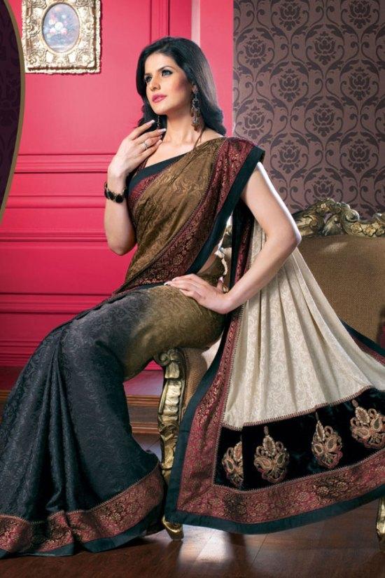Stunning Faux Georgette Designer Saree with Halter Neck Saree Blouse