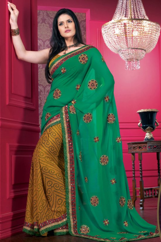 Green and Yellow Designer Saree with Matching Saree Blouse Unstitched
