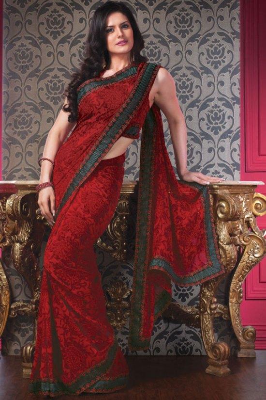 Eye Catching Red Designer Saree with Sleeveless Saree Blouse