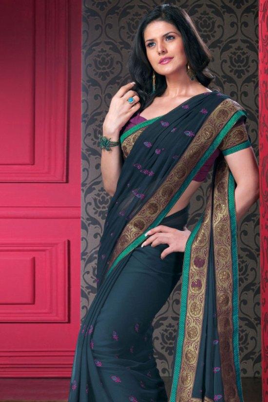 Blue Designer Saree with Matching Quarter Sleeve Saree Blouse Designs
