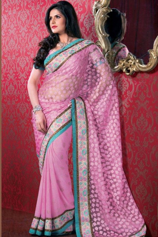 Newly Arrived Pink Designer Saree with Matching Saree Blouse Design