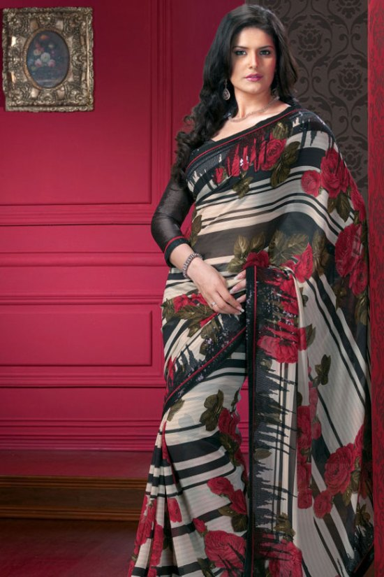 Multicolor Designer Saree with Full Sleeves Black Saree Blouse