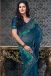 Blue Designer Party Wear Saree with Half Sleeve Matching Saree Blouse