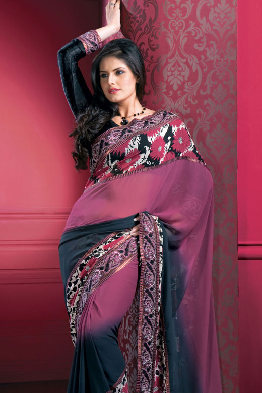Pink and Gray Designer Saree with Black Full Sleeves Saree Blouse Design