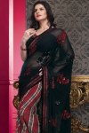 Latest Faux Georgette Saree with Matching Saree Blouse Design
