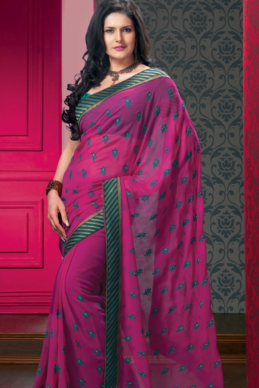 Violet Saree with Green Embroidered Saree Border and Matching Blouse