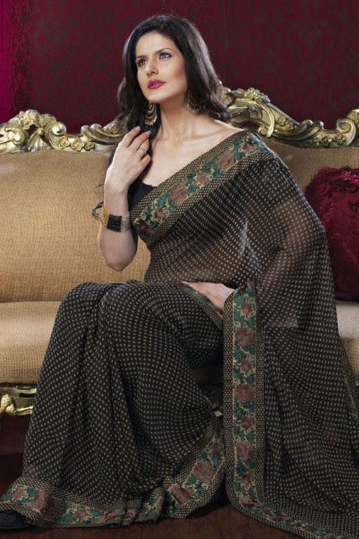 Stunning Black Designer Saree with Square Neck Saree Blouse Designs