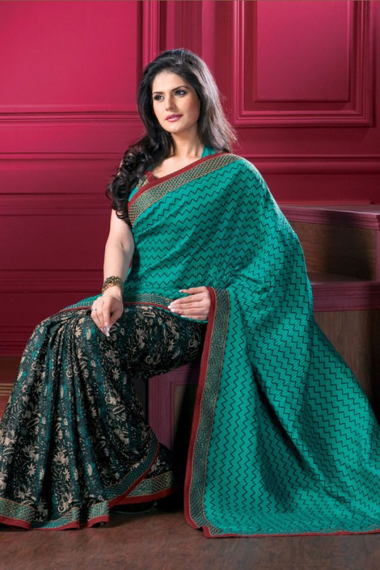 Designer Saree in Teal Blue and Black Color with Matching Saree Blouse