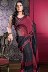 Half Sleeves Matching Saree Blouse with Red and Black Designer Saree