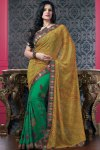 Latest Saree Blouse with Green and Yellow Designer Saree for Party Wear