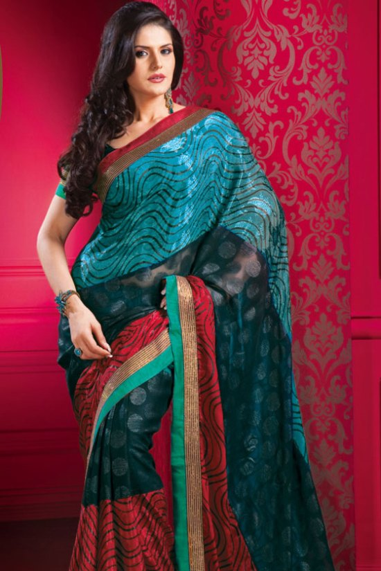 Designer Blue Saree with Red Embroidered Border and Matching Blouse Piece