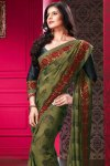 Full Sleeves Black Saree Blouse Design with Olive Green Designer Saree