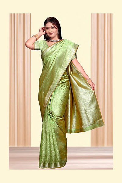 Newly Arrived Art Silk Saree in Olive Green Color for Festival and Party