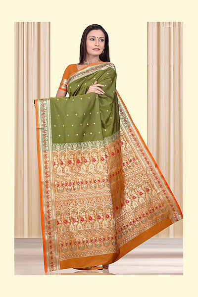 Olive Green Art Silk Sarees Collection 2010 for Festival Wear