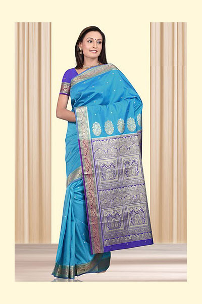 Art Silk Saree in Deep Sky Blue Color for Party and Festival Wear