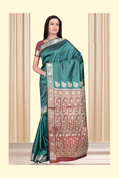 Teal Green Art Silk Saree with Embroidery work on Aanchal