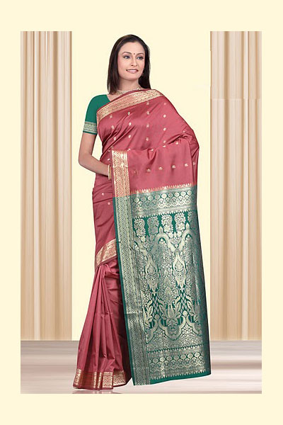 Red Art Silk Saree with Green Color Embroidered Aanchal